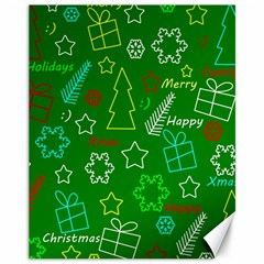 Green Xmas Pattern Canvas 11  X 14   by Valentinaart