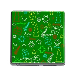 Green Xmas Pattern Memory Card Reader (square) by Valentinaart