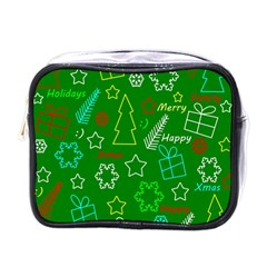Green Xmas Pattern Mini Toiletries Bags by Valentinaart