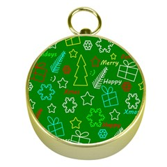 Green Xmas Pattern Gold Compasses by Valentinaart
