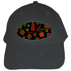 Red And Green Xmas Pattern Black Cap by Valentinaart