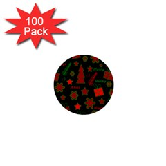 Red And Green Xmas Pattern 1  Mini Buttons (100 Pack)  by Valentinaart