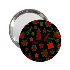 Red And Green Xmas Pattern 2 25  Handbag Mirrors by Valentinaart