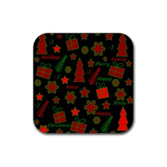 Red And Green Xmas Pattern Rubber Square Coaster (4 Pack)  by Valentinaart