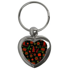 Red And Green Xmas Pattern Key Chains (heart)  by Valentinaart