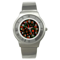 Red And Green Xmas Pattern Stainless Steel Watch by Valentinaart