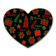 Red And Green Xmas Pattern Heart Mousepads by Valentinaart