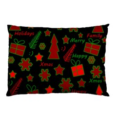 Red And Green Xmas Pattern Pillow Case by Valentinaart