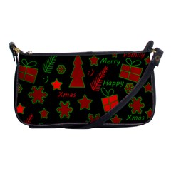 Red And Green Xmas Pattern Shoulder Clutch Bags by Valentinaart