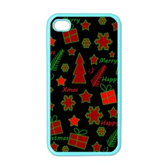 Red And Green Xmas Pattern Apple Iphone 4 Case (color) by Valentinaart