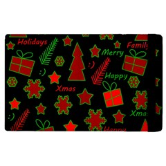 Red And Green Xmas Pattern Apple Ipad 2 Flip Case by Valentinaart