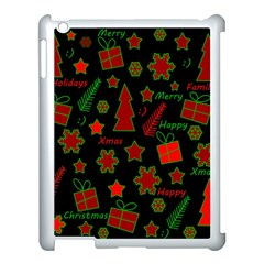 Red And Green Xmas Pattern Apple Ipad 3/4 Case (white) by Valentinaart
