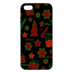 Red And Green Xmas Pattern Apple Iphone 5 Premium Hardshell Case by Valentinaart