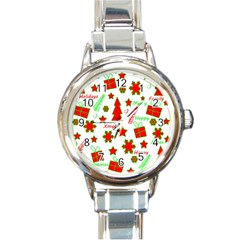 Red And Green Christmas Pattern Round Italian Charm Watch by Valentinaart