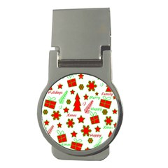Red And Green Christmas Pattern Money Clips (round)  by Valentinaart