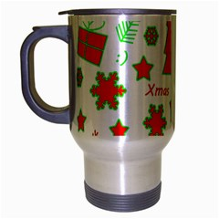 Red And Green Christmas Pattern Travel Mug (silver Gray) by Valentinaart