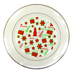 Red And Green Christmas Pattern Porcelain Plates by Valentinaart