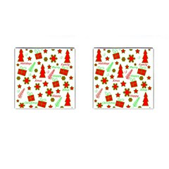 Red And Green Christmas Pattern Cufflinks (square) by Valentinaart