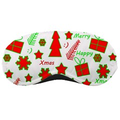 Red And Green Christmas Pattern Sleeping Masks by Valentinaart