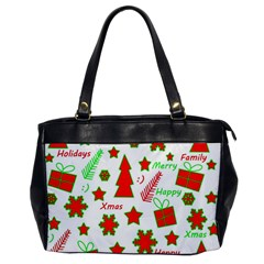 Red And Green Christmas Pattern Office Handbags by Valentinaart