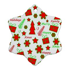 Red And Green Christmas Pattern Snowflake Ornament (2 Side) by Valentinaart