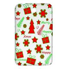 Red And Green Christmas Pattern Samsung Galaxy Tab 3 (7 ) P3200 Hardshell Case  by Valentinaart