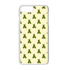 Leaf Pattern Green Wallpaper Tea Apple iPhone 7 Plus White Seamless Case by Zeze