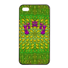 Flowers And Yoga In The Wind Apple Iphone 4/4s Seamless Case (black) by pepitasart