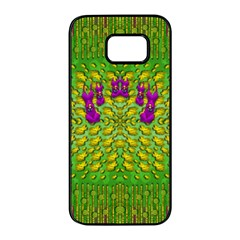 Flowers And Yoga In The Wind Samsung Galaxy S7 Edge Black Seamless Case by pepitasart