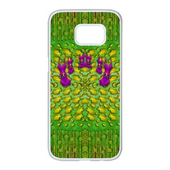 Flowers And Yoga In The Wind Samsung Galaxy S7 Edge White Seamless Case by pepitasart