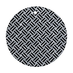 Woven2 Black Marble & Gray Marble (r) Ornament (round) by trendistuff