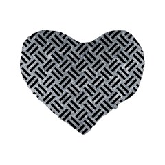 Woven2 Black Marble & Gray Marble (r) Standard 16  Premium Heart Shape Cushion  by trendistuff