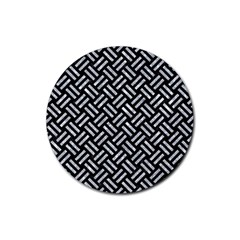 Woven2 Black Marble & Gray Marble Rubber Coaster (round) by trendistuff