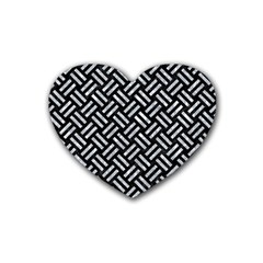 Woven2 Black Marble & Gray Marble Rubber Heart Coaster (4 Pack) by trendistuff