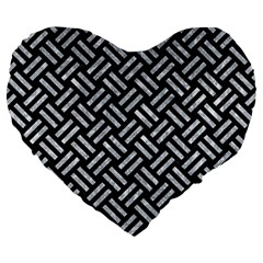 Woven2 Black Marble & Gray Marble Large 19  Premium Flano Heart Shape Cushion by trendistuff