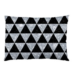 Triangle3 Black Marble & Gray Marble Pillow Case by trendistuff