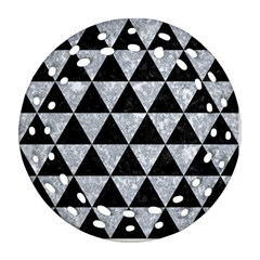 Triangle3 Black Marble & Gray Marble Ornament (round Filigree) by trendistuff