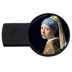 Girl With A Pearl Earring Usb Flash Drive Round (2 Gb)  by ArtMuseum