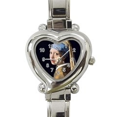 Girl With A Pearl Earring Heart Italian Charm Watch by ArtMuseum
