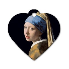 Girl With A Pearl Earring Dog Tag Heart (one Side) by ArtMuseum