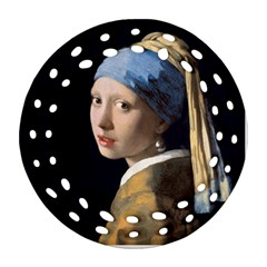 Girl With A Pearl Earring Round Filigree Ornament (2side) by ArtMuseum