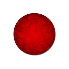 Decorative Red Christmas Background With Snowflakes Magnet 3  (round) by TastefulDesigns