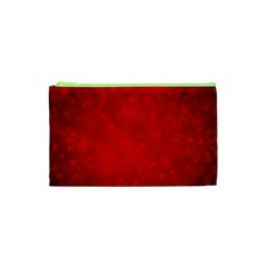 Decorative Red Christmas Background With Snowflakes Cosmetic Bag (xs) by TastefulDesigns