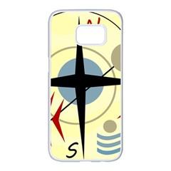 Compass 3 Samsung Galaxy S7 Edge White Seamless Case by Valentinaart