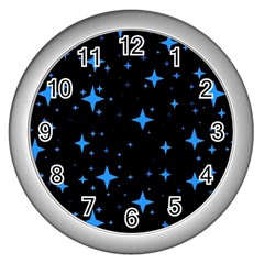 Bright Blue  Stars In Space Wall Clocks (silver)  by Costasonlineshop