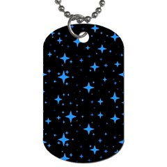 Bright Blue  Stars In Space Dog Tag (one Side)