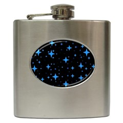 Bright Blue  Stars In Space Hip Flask (6 Oz)