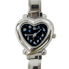 Bright Blue  Stars In Space Heart Italian Charm Watch