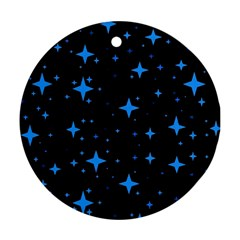 Bright Blue  Stars In Space Round Ornament (two Sides)