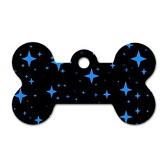 Bright Blue  Stars In Space Dog Tag Bone (one Side)